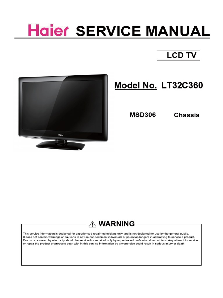 haier lt32c360 chassis msd306 sm electrostatic discharge hdmi rh scribd com Haier America Service Manuals Haier Parts Manual