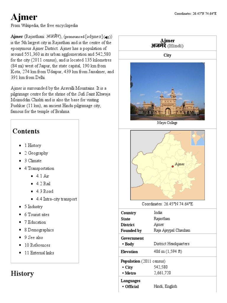 Ajmer - Wikipedia, The Free Encyclopedia | Transport | Nature