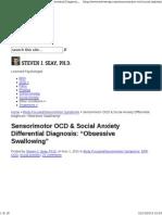 Sensorimotor OCD and Social Anxiety