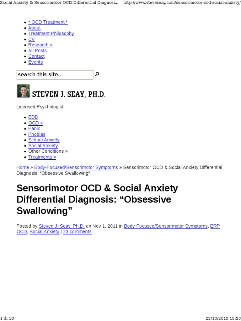 Sensorimotor OCD & Social Anxiety Differential Diagnosis
