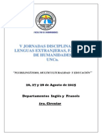 Circular N º 1- V Jornadas Disciplinares de Lenguas Extranjeras- Facultad de Humanidades - UNCa.