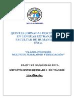 Circular N º 2 - V Jornadas Disciplinares de Lenguas Extranjeras- Facultad de Humanidades - UNCa.