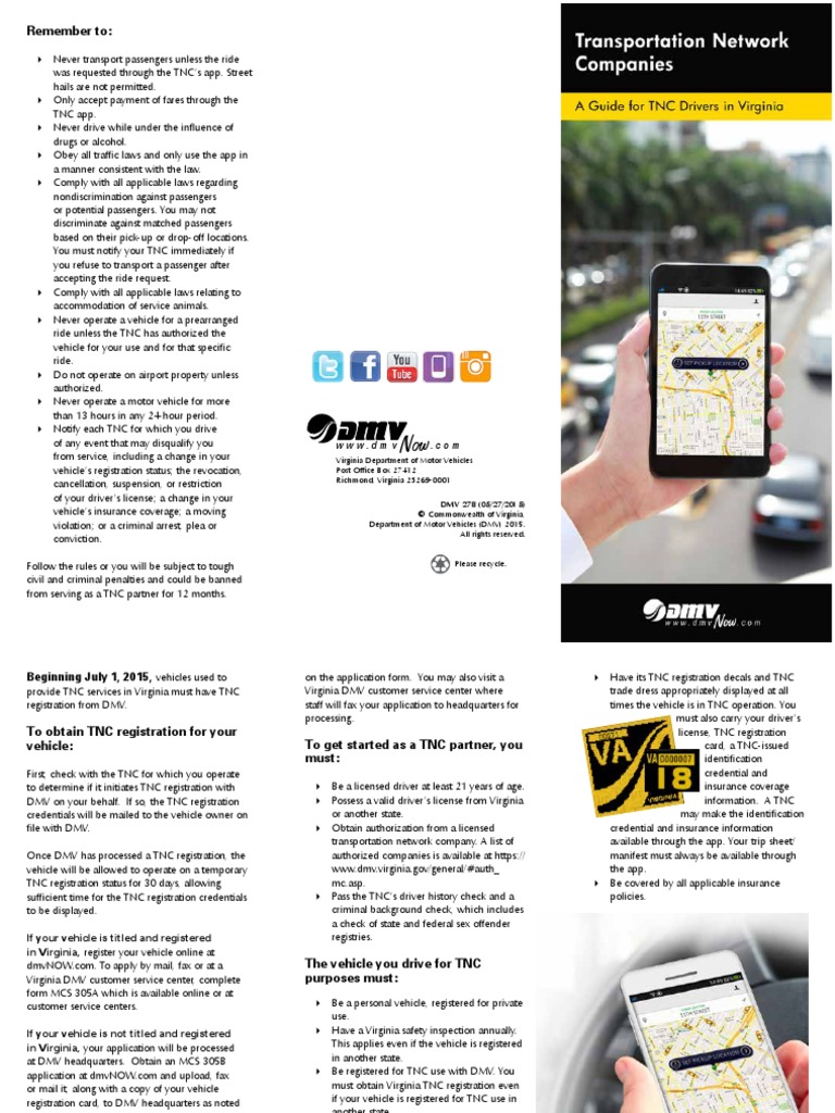 Ride Sharing Vehicles Info From Va Dmv Department Of Motor Vehicles Government