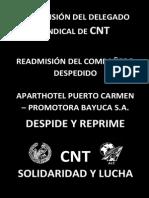 Fax Solidaridad despido Apart Hotel Puerto Carmen. Promotora Bayuca 928131475