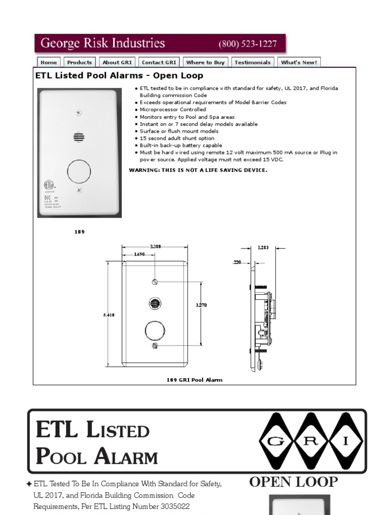 Pool Wiring Alarm Diagram Home Imgs In Addition Emergency Exit Light Gri 189 1 Data Sheet Power Supply Battery Electricity Fire Circuit