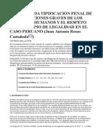 La Adecuada Tipificación Penal de Las Violaciones Graves de Los Derechos Humanos y El Respeto Del Principio de Legalidad en El Caso Peruano
