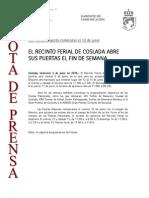 150603 NP- El Recinto Ferial de Coslada Abre Sus Puertas El Fin de Semana