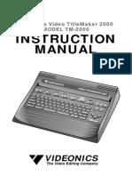 Videonics Titlemaker 2000 User Manual