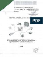 Plan de Mantemiento Preventivo y Correctivo de Equipos de CA Mputo y Comunicaciones