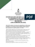 INTERVENCIÓN DE LA PRESIDENTA DEL CONCEJO DE ARTICA SESIÓN ORDINARIA 08/02/12