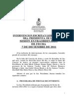 INTERVENCIÓN DE LA PRESIDENTA DEL CONCEJO DE ARTICA SESIÓN EXTRAORDINARIA 07/12/11