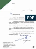 Courrier de François Hollande au député du Finistère