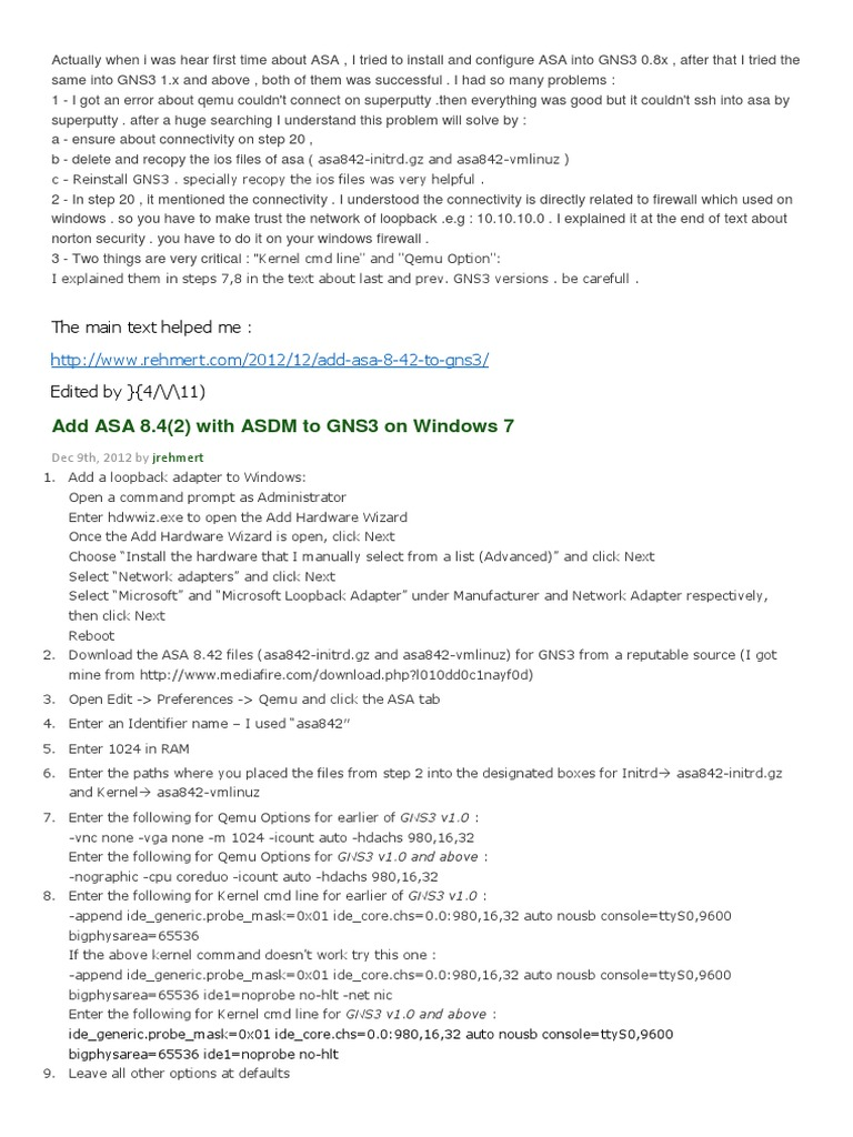 Add ASA 8 4(2) with ASDM to GNS3 on Windows 7 | Network Switch