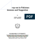 Reasons of High Dropout in Pakistan