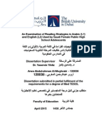 An Examination of Reading Strategies in Arabic (L1) and English (L2) Used by Saudi Female Public High School Adolescents