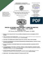 ECWANDC Special Economic Empowerment Committee Meeting - June 4, 2015