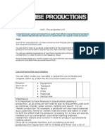 requirements of pre production