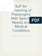 SoP for Screening of Passengers With Special Needs and Medical Conditions