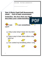 Year 4 Music Pupil Self Assessment Sheet Steps and Leaps