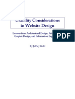 Usability Considerations in Website Design Lessons from Architectural Design, Print Design, Graphic Design, and Information Ergonomics by Jeffrey Gold