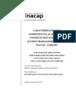 CARACTERIZACION POR COMPETENCIAS ACADEMICAS Y CONTEXTO SITUACIONAL DEL ALUMNO TRABAJADOR DE LA SEDE INACAP – COPIAPO