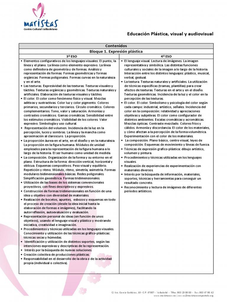 Contenidos Educación Plástica, Visual y Audiovisual 3º-4º ESO