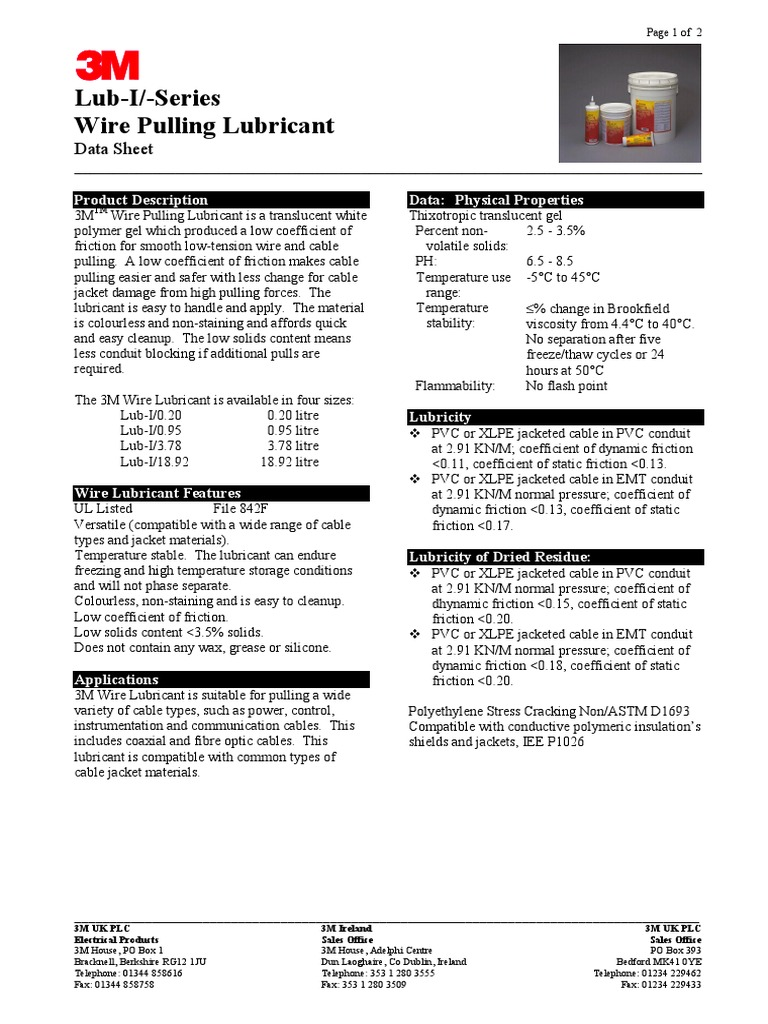 Cable Pulling Lubricant- Data Sheet (en Ingles) | Cable | Friction