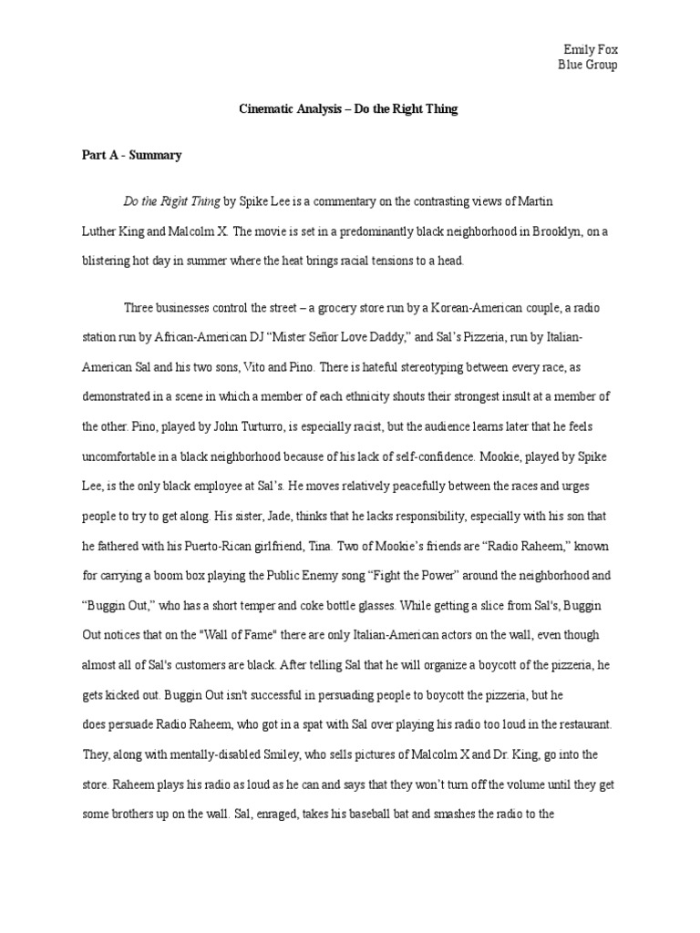 Do The Right Thing Analytical Essay