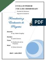 Clasificacion de Los Proyectos Según La CFN