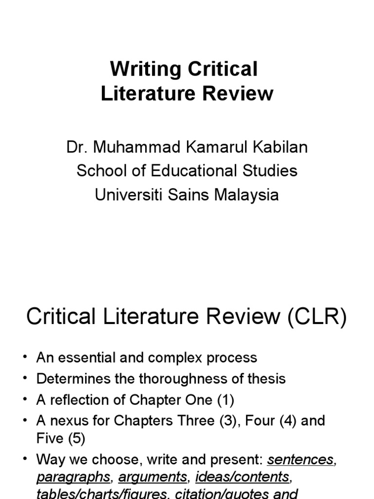 Writing a critical literature review