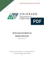 2014 Legislative report on Remedial Education