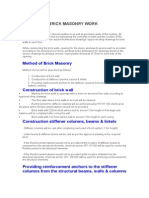 Method of Brick Masonry Work