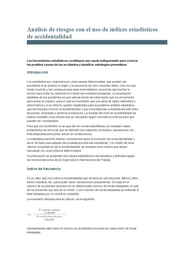 Análisis de RiAnálisis de riesgos con el uso de índices estadísticos ...