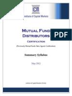 ICM_Mutual Fund Distributors (Summary Syllabus - May 2012)