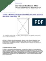 Contretemps - 17 Avril _ &Quot;Repenser l'Émancipation Au XXIe Siècle, Entre Ressources Anarchistes Et Marxistes&Quot; - 2015-04-14