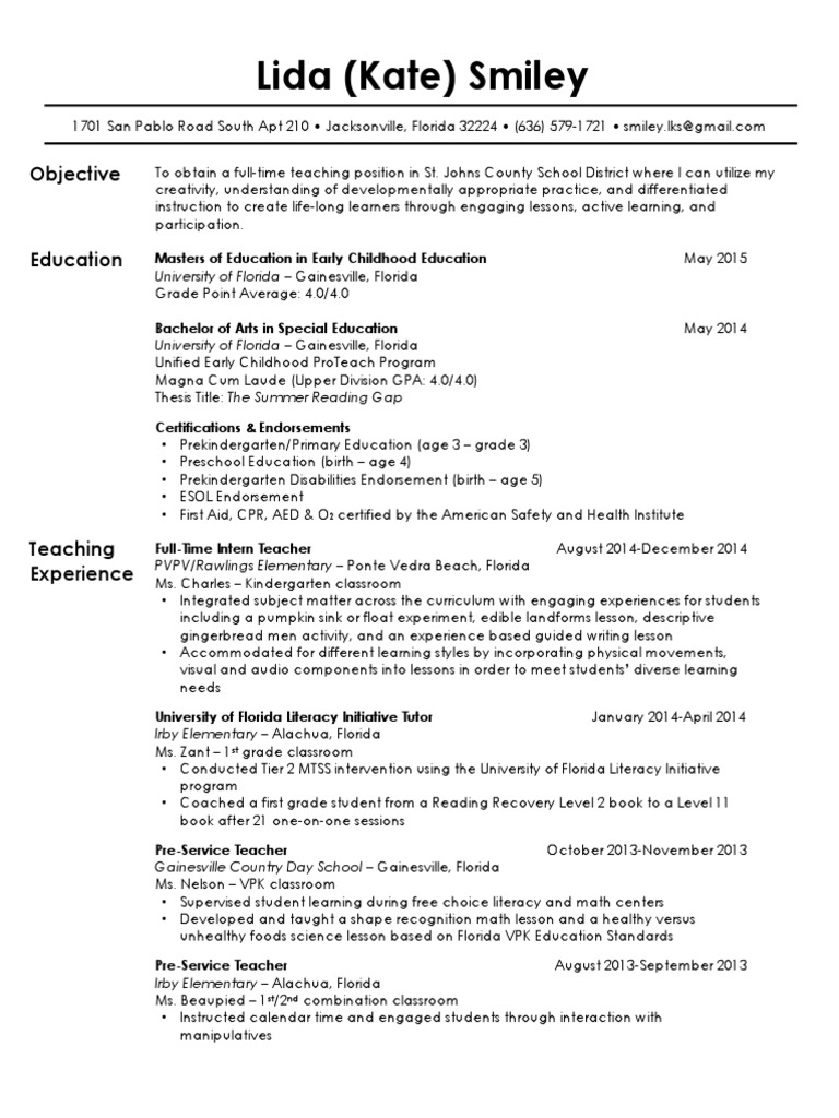 Lida Kate Smiley Resume 5 4 15 Early Childhood Education Pre