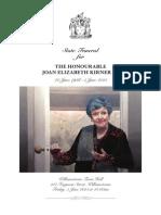 Joan Kirner State Funeral - Order of Proceedings