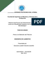 Influencia Del Proceso de Pasteurizacion Lento de La Leche en El Rendimiento Queresero y en La Estabilidad Microbiologica