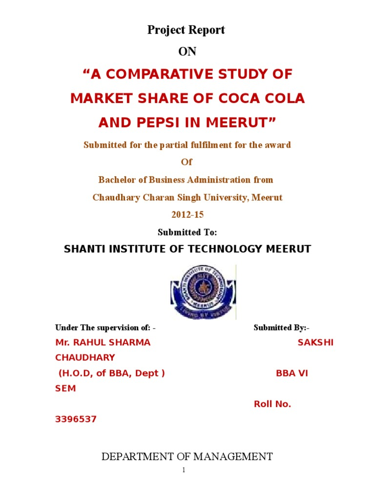 A comparative study of market share of coca cola and pepsi in meerut a comparative study of market share of coca cola and pepsi in meerut copy 1c pepsi co coca cola nvjuhfo Image collections