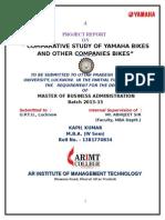 Comparative STUDY OF YAMAHA BIKES With Other COMPANIES BIKES SUmitsadas.doc
