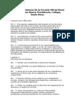 Reglamento Interno de La Escuela Oficial Rural Mixta