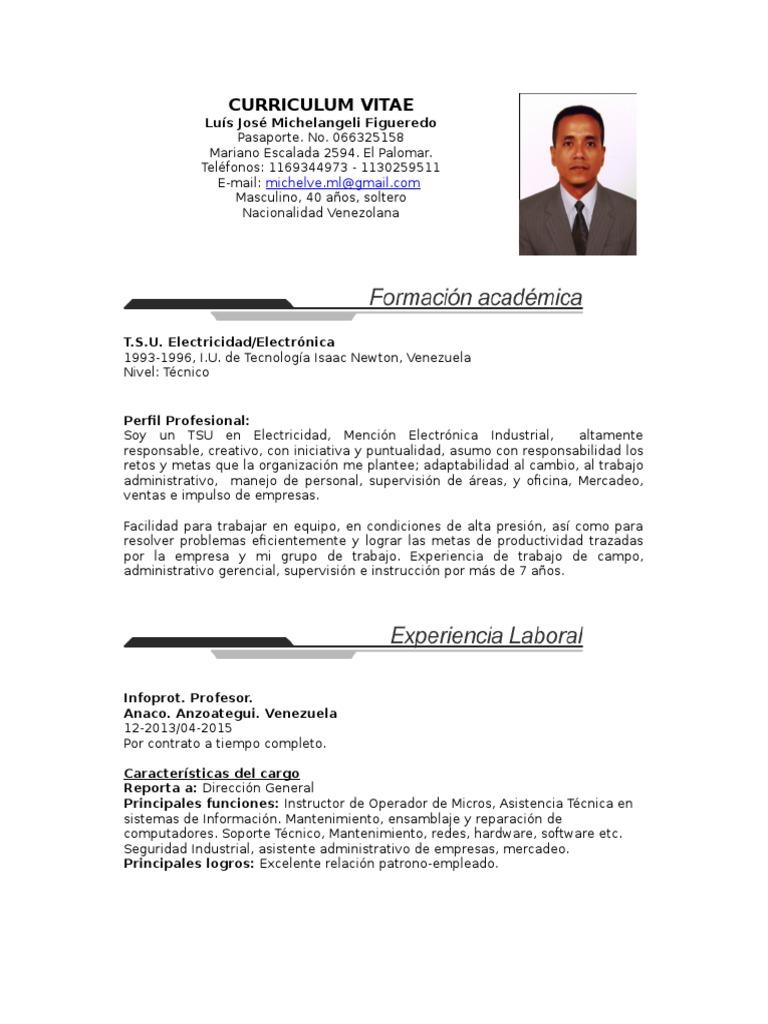 Bonito Curriculum Vitae Para El Técnico De Mantenimiento Imágenes ...