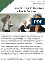 Think Twice Before Firing an Employee for Social Media Behavior