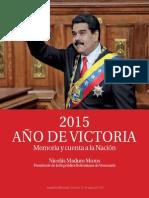 2015 AÑO de VICTORIA Memoria y Cuenta a La Nación