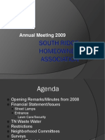South Ridge HOA 2009 Annual Meeting Power Point Presentation