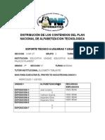 Distribución de Los Contenidos Del Plan Nacional de Alfabetizacion Tecnologica (1)