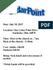 Cedar Point Trip 2015