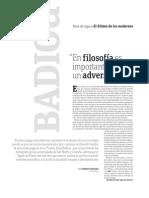 Badiou - En filosofia es importante tener un adversario