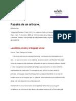 Reseña de La Estética, El Arte y El Lenguaje Visual.