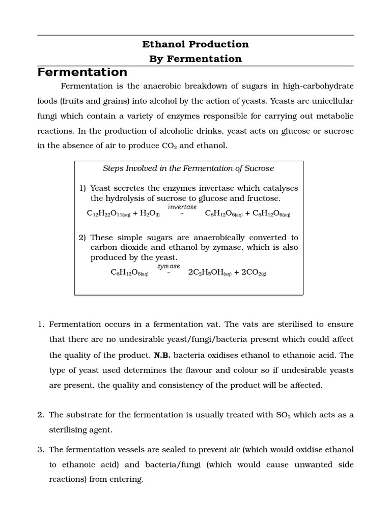 production of alcohol by fermentation essay Ethanol fermentation is one of the oldest and most important fermentation processes used in the biotechnology industry so the majority of published papers deal with this topic alcohol production.